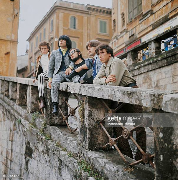 Italian band Nomadi posing on a bridge The band is composed by Italian singer Augusto Daolio Italian keyboard player Beppe Carletti Italian drummer...
