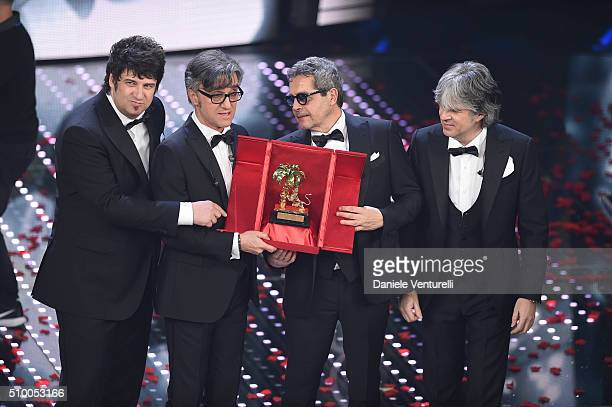 SANREMO ITALY FEBRUARY Italian Band Stadio winners of the 66th Italian Music Festival in Sanremo pose with the award at the Ariston theatre during...