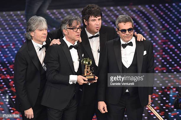 Italian Band Stadio winners of the 66th Italian Music Festival in Sanremo pose with the award at the Ariston theatre during the closing night on...