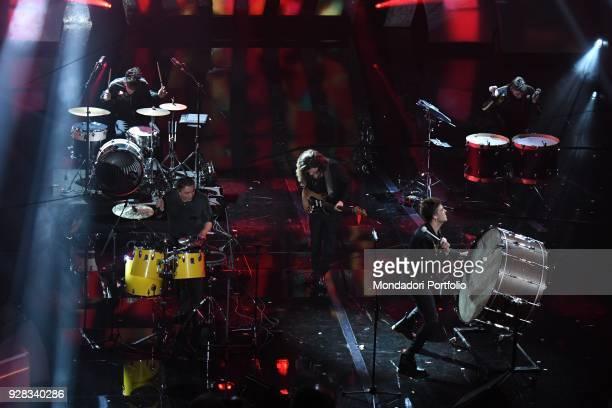 Italian band The Kolors and musicians Tullio De Piscopo and Enrico Nigiotti performs on the Ariston stage during the 68th Festival di Sanremo Sanremo...