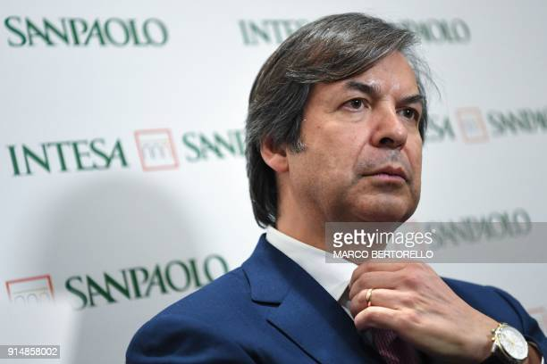 Italian bank Intesa Sanpaolo Chief Executive Officer Carlo Messina gives press conference after the presentation of the 2017 results and a new...