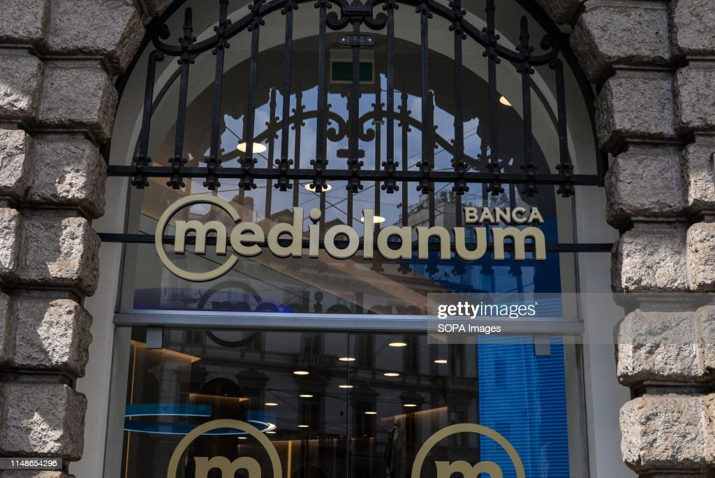 Italian banking company, Banca Mediolanum logo, listed in... : News Photo