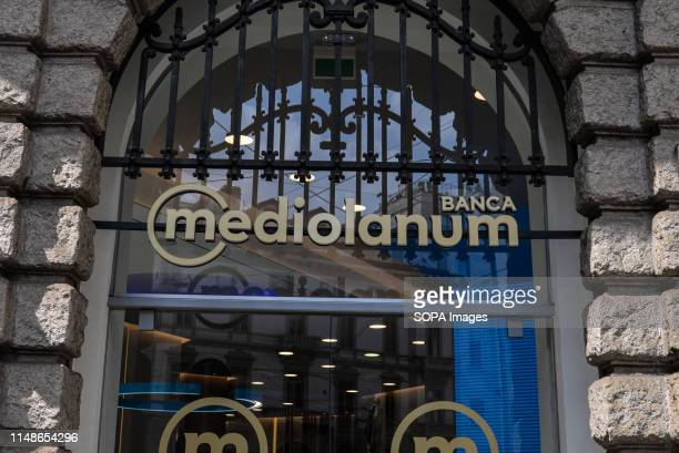 Italian banking company Banca Mediolanum logo listed in the MIB in Milan
