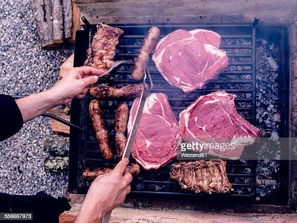 Italian barbecue with Bistecca alla Fiorentina, Salsiccia and cured pork