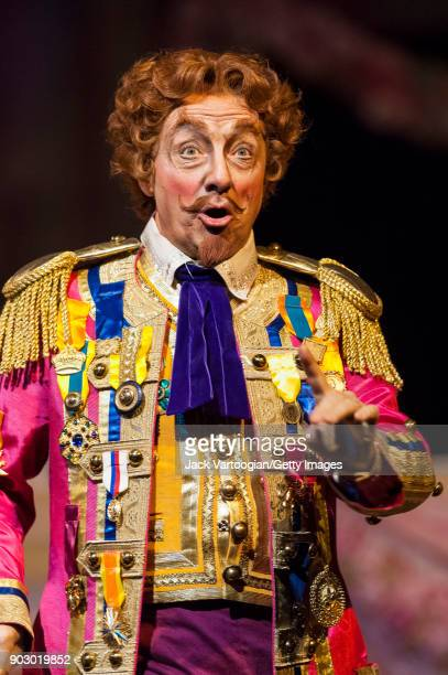 Italian baritone Alessandro Corbelli performs during the final dress rehearsal of Act 2 of the Metropolitan Opera/John Copley production of 'L'Elisir...