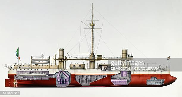 Italian battleship Duilio launched in 1876 drawing Italy 19th century