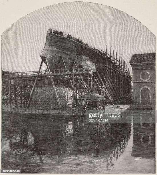 Italian battleship Sicilia, under construction, Venetian Arsenal, Italy, engraving from L'Illustrazione Italiana, year 18, no 21, May 24, 1891.