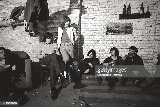 Italian beatniks having a rest at Mondo Beat club in Milan Milan 1960s