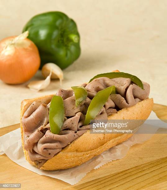 italian beef sandwich with green pepper strips -  firak stock pictures, royalty-free photos & images