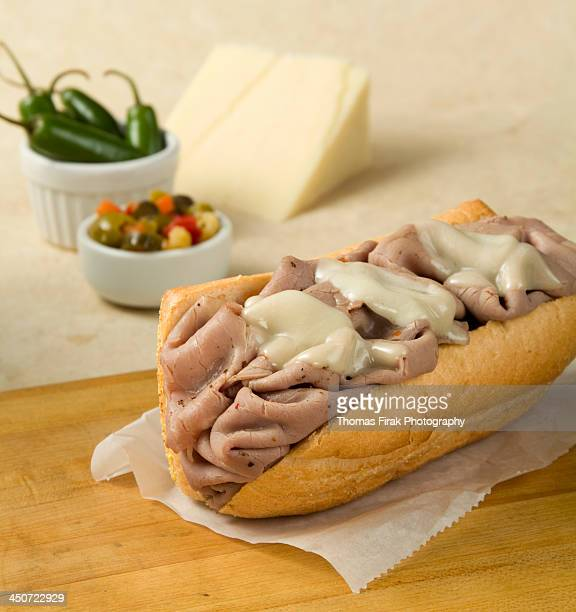 italian beef sandwich with mozzarella cheese -  firak stock pictures, royalty-free photos & images