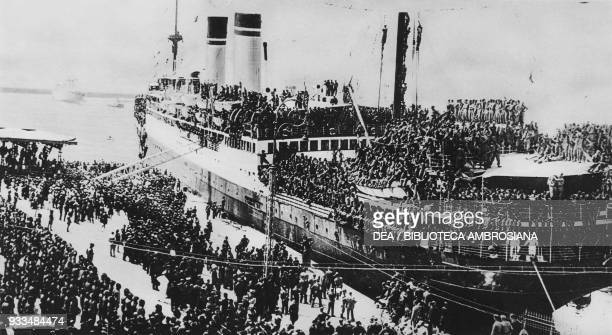 Italian Bersaglieri leaving Naples after been ordered to East Africa Italy ItaloAbyssinian crisis photograph from The Illustrated London News July 27...