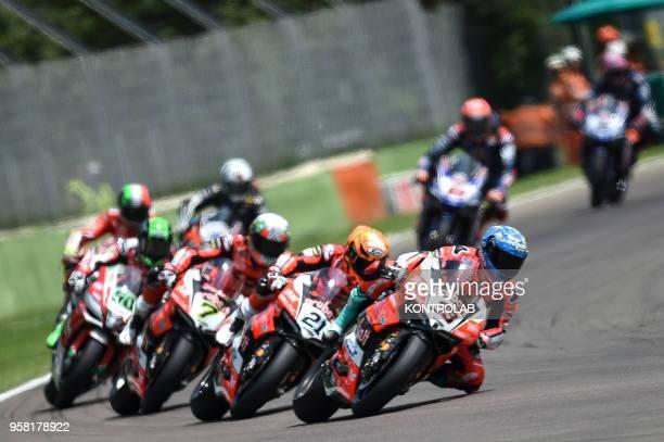 Italian biker Marco Melandri on the Ducati Panigale R of Arubait Racing Ducati Italian Michele Rinaldi on the Ducati Panigale R of Arubait Racing...