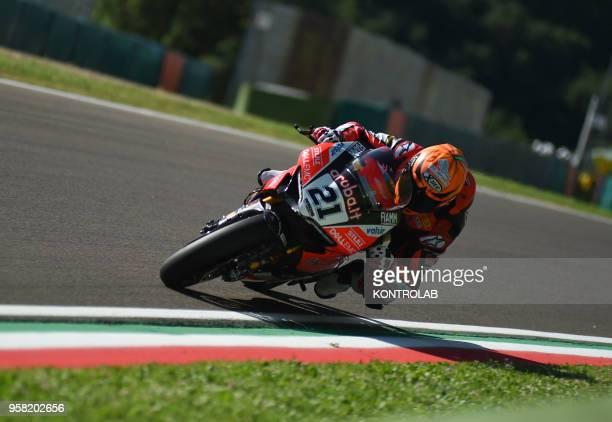Italian biker Michele Rinaldi on the Ducati Panigale R of Arubait Racing Ducati runs during the Race 2 of Superbike Pata Italian Round Jonathan Rea...