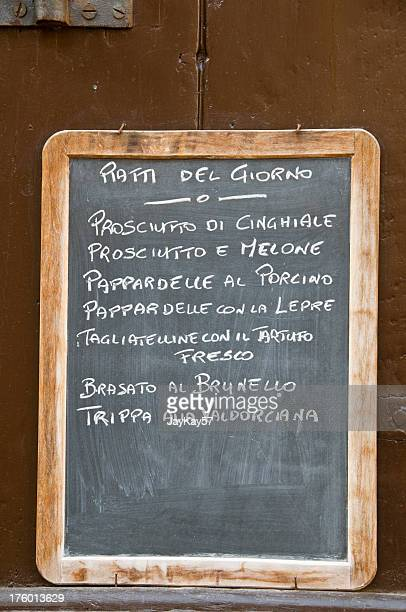 Italian blackboard menu