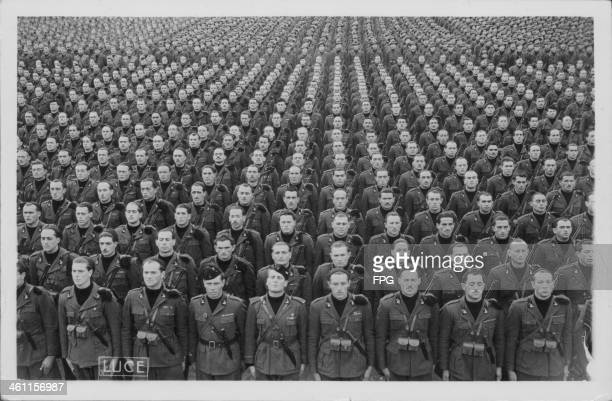 Italian Blackshirts or fascist paramilitary squad in military formation during World War Two Italy circa 19391945