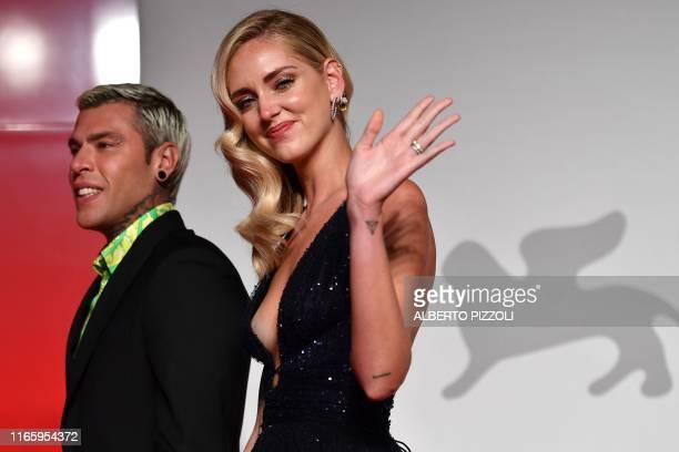 Italian blogger Chiara Ferragni and her husband Italian singer Federico Leonardo Lucia also known as Fedez arrive at the screening of the film Chiara...