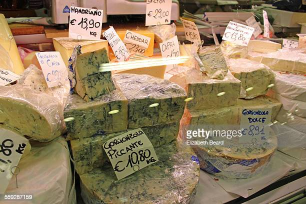 Italian blue cheeses for sale at Florence market