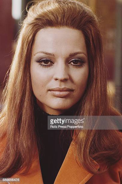 Italian born actress Ira von Furstenberg pictured wearing an orange velvet jacket during production of the comedy film 'Playgirl 70' in Rome Italy on...