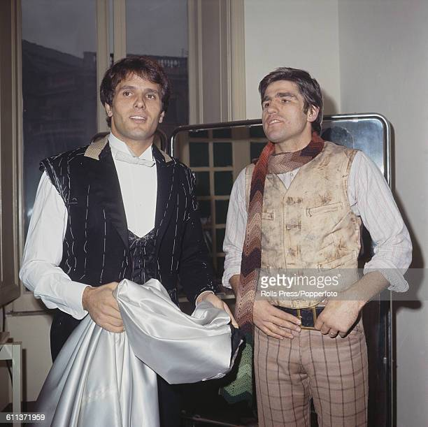 Italian boxer Nino Benvenuti pictured right with Italian actor Giuliano Gemma during production of the film 'Sundance and the Kid' in Italy on 14th...