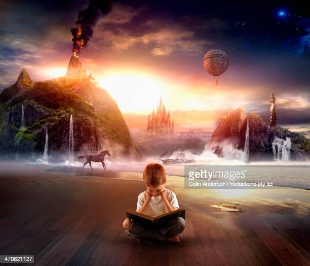 italian boy imagining contents of book - dreamlike stock pictures, royalty-free photos & images