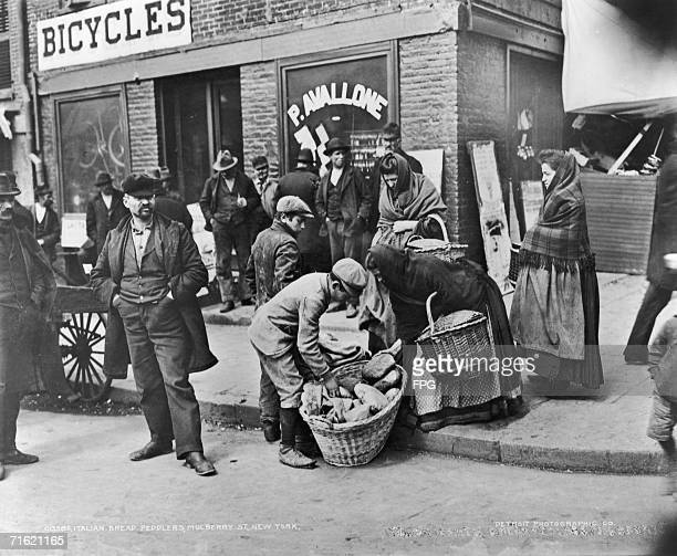 Italian bread peddlers in Mulberry Street in the Little Italy area of New York City circa 1910