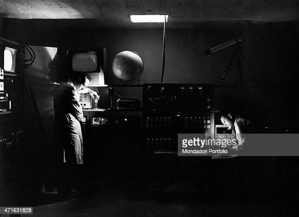 'Italian brothers and radio amateurs Achille and Giovanni Battista Judica Cordiglia working at Bert Tower their space listening centre created to...