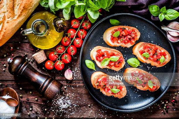 italian bruschetta - antipasto stock pictures, royalty-free photos & images