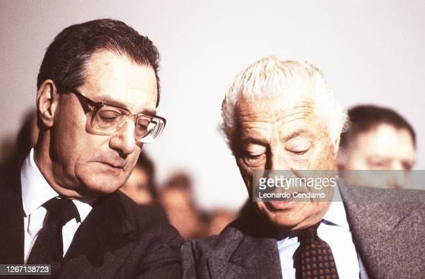 Italian businessman Cesare Romiti and Giovanni Agnelli , President of Fiat, Turin, Lingotto,18th April 1990.
