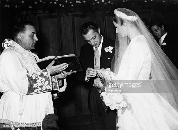 Italian businessman Gianni Agnelli the head of Fiat marries Italian princess Marella Caracciolo at the Church of Osthoffen Strasbourg France 19th...