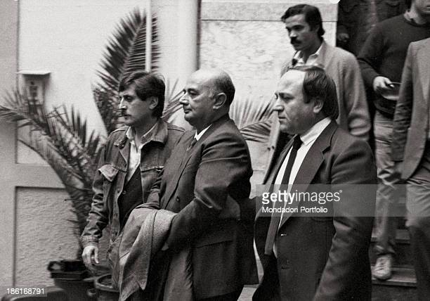 Italian businessman Nino Salvo being arrested on an order issued by Italian magistrate Giovanni Falcone Salvo was charged with affiliation to the...