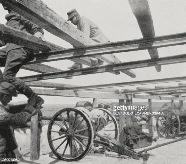 Italian cannons in the Lombardia blockhouse Derna Libya ItalianTurkish war photograph by Gualtiero Castellini from L'Illustrazione Italiana Year...