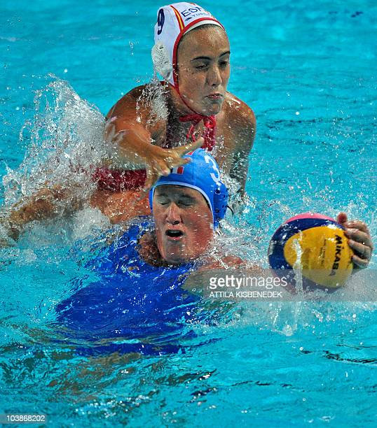 Italian captain Elisa Casanova and Spanish Andrea Blas fight for the ball in the Mladost venue swimming pool of Zagreb on September 6 2010 during...