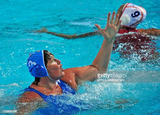 Italian captain Elisa Casanova celebrates her score against Spanish Andrea Blas in the Mladost venue swimming pool of Zagreb on September 6 2010...