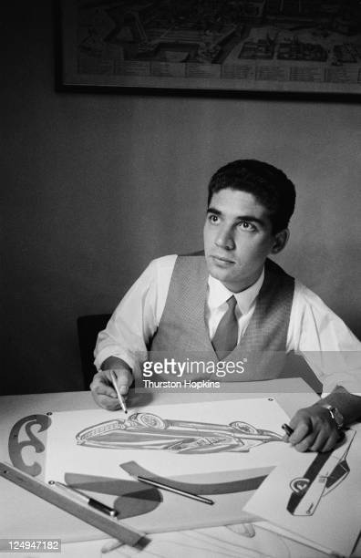 Italian car designer Gian Paolo Boano at the drawing board in Italy 1956 He and his father Mario Boano design factory prototype cars Original...