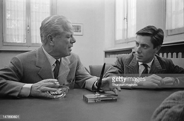 Italian car designers Battista Farina and his son Sergio of the Pininfarina car design and coachbuilding firm Italy 28th September 1956 The family...