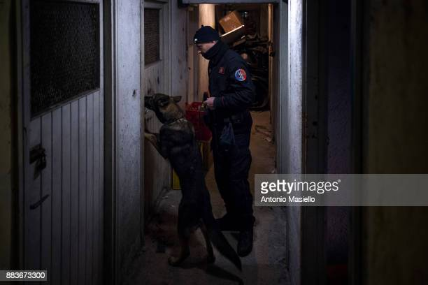 Italian Carabinieri check the houses in the district where the Mafia clans live in the coastal suburb Ostia on December 1 2017 in Rome Italy Checks...