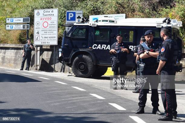 Italian carabinieri control the access to the city of Taormina on May 22 2017 in Sicily The heads of the Group of Seven including new US president...