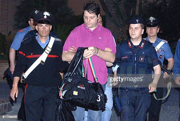 Italian Carabinieri escort to jail Giuseppe Iovine , brother of one of most wanted men in Italy and Camorra boss Antonio Iovine, and one of 53...