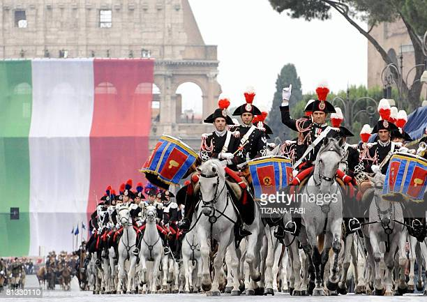 Italian carabinieri march on Via dei Fori Imperiali avenue in Rome during a military parade marking the country's Republic Day 02 June 2007 Italian...