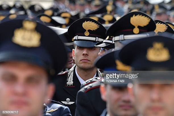 Italian carabinieri wait for the arrival of Pope Francis before an audience as part of the Jubilee Year of Mercy on April 30 2016 at St Peter's...