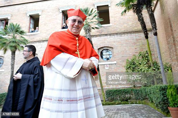 Italian Cardinal Agostino Vallini arrives at the Basilica di Santa Sabina to attend the Ash Wednesday service led by Pope Francis on March 5 2014 in...