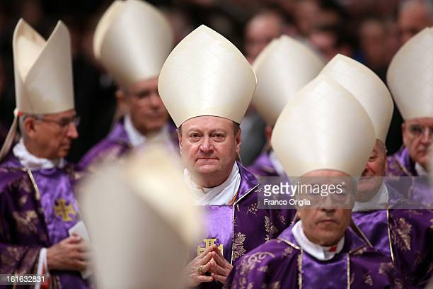 Italian cardinal Gianfranco Ravasi attends the Ash Wednesday service held by Pope Benedict XVI at St Peter's Basilica on February 13 2013 in Vatican...