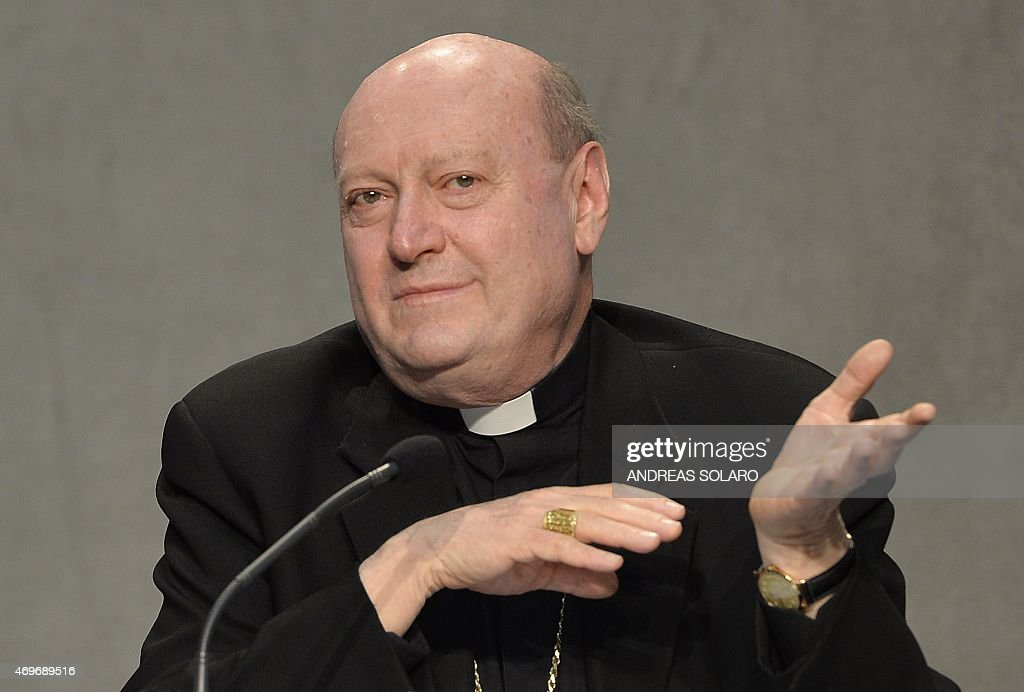 Italian cardinal Gianfranco Ravasi looks on during a press conference for the presentation of the Holy See pavilion 'Non di solo pane' (Not only from bread ) at the EXPO 2015 in Milan, on April 14, 2015 at the Vatican.
