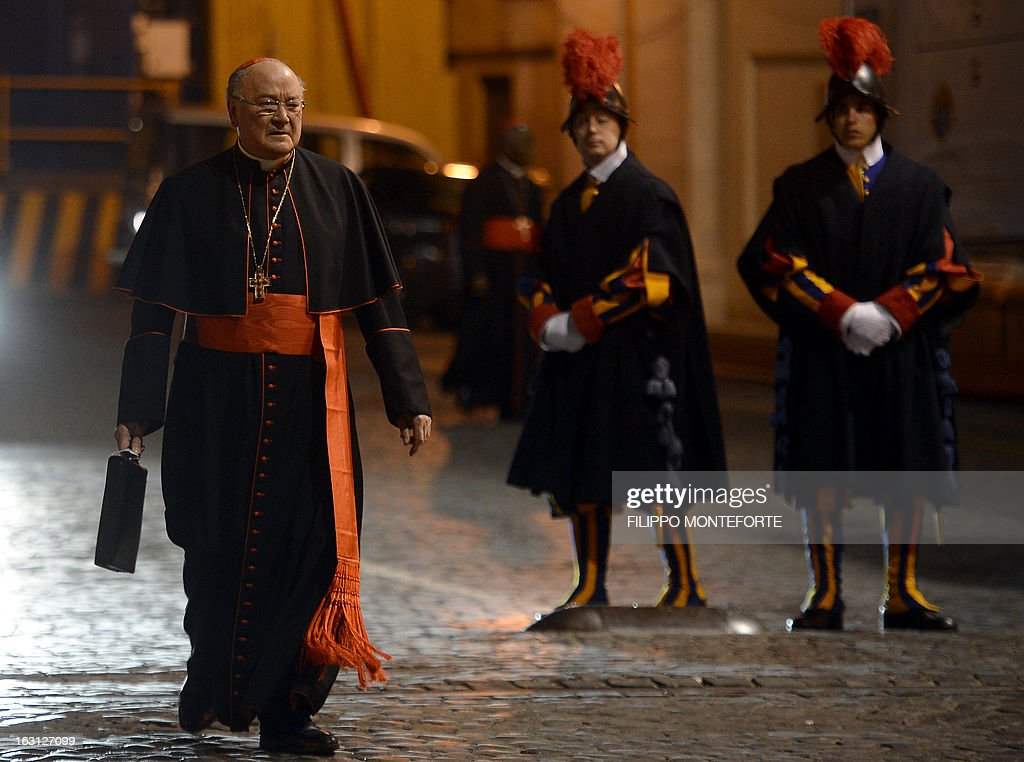 Italian cardinal Renato Raffaele Martino walks on St Peter's square after a meeting of a conclave to elect a new pope on March 4, 2013 at the Vatican. The Vatican meetings will set the date for the start of the conclave this month and help identify candidates among the cardinals to be the next leader of the world's 1.2 billion Catholics. AFP PHOTO/ Filippo MONTEFORTE