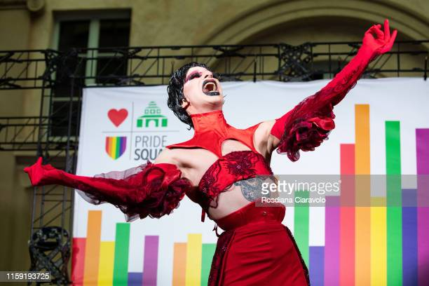 Italian Celebrity Drag queen Daphne Bohemien performs at DRAMA MILANO STAGE during the Gay Pride 2019 on June 29, 2019 in Milan, Italy.