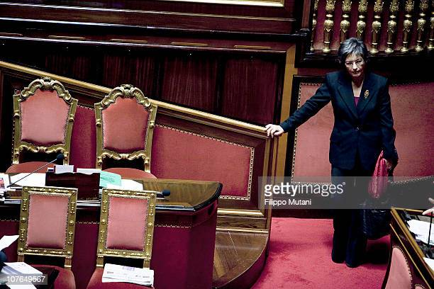 Italian centreleft wing senator Anna Finocchiaro attends a session on the vote of confidence at the Italian Senate Chamber on December 13 2010 in...