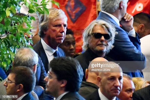 Italian chairman of the Italian Serie A football club Genoa Enrico Preziosi and Italian chairman for the football team Sampdoria Massimo Ferrero...