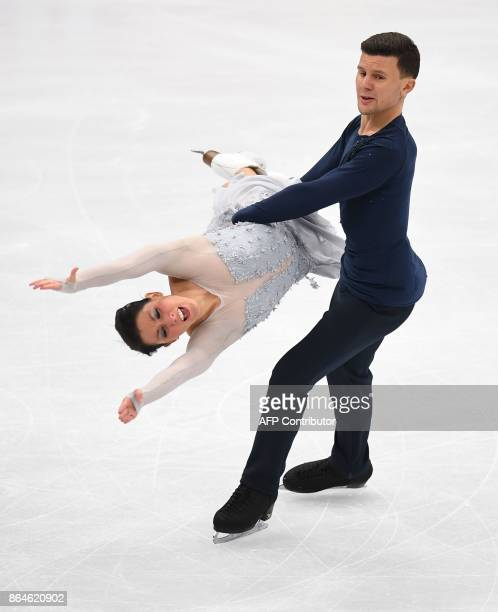 Italian Chalrene Guignard and Marco Fabbri compete in the Ice Dance free dance at the ISU Grand Prix Rostelecom Cup in Moscow on October 21 2017 /...