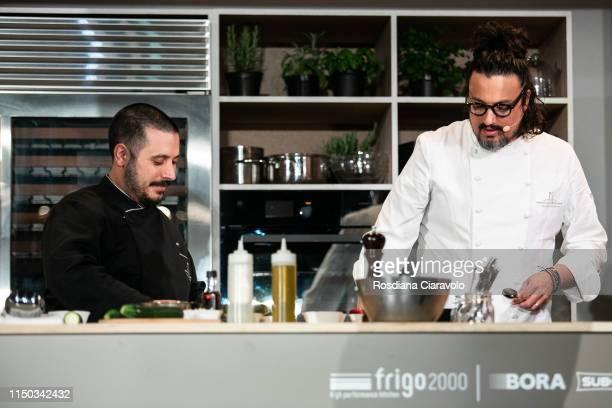Italian Chef and Tv Host Alessandro Borghese and Souschef Carlo Gentili attend the Cibo A Regola D'Arte 2019 at Fabbrica del Vapore on May 19 2019 in...