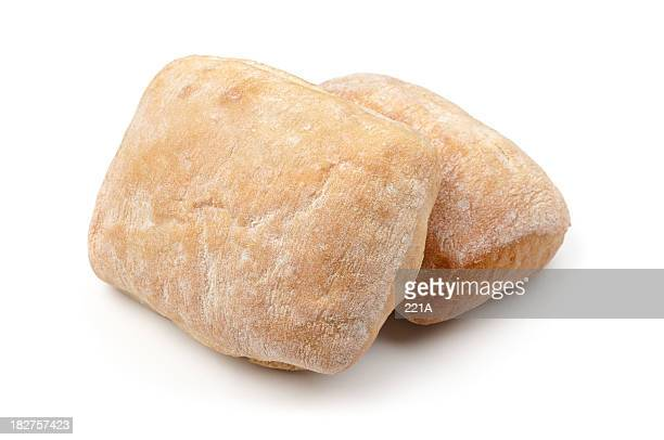 italian ciabatta bread on white - bun bread stock pictures, royalty-free photos & images